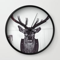 antlers Wall Clocks featuring Antlers  by Mark Spence