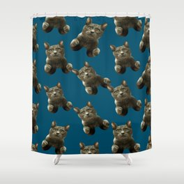 night sky skydiving funny flying cat Shower Curtain