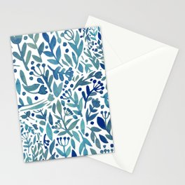 Watercolor blue plants Stationery Cards