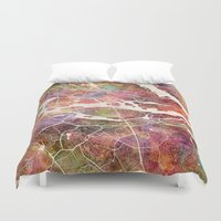 stockholm Duvet Covers featuring Stockholm by MapMapMaps.Watercolors