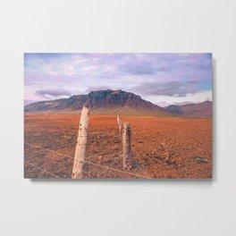 Iceland Mountain Landscape; Farm Fence Metal Print