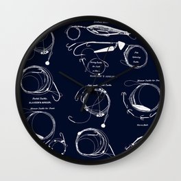 Maritime pattern- white fishing gear on darkblue background Wall Clock