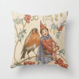 """A Christmas Duet"" by Margaret Tarrant Throw Pillow"