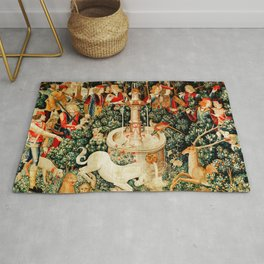 Hunt Of The Unicorn Medieval Tapestry Rug