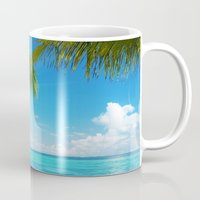 coconut wishes Mugs featuring Coconut Beach by Tom Lee