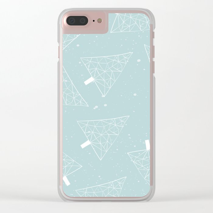 Christmas Trees Light Blue Clear iPhone Case