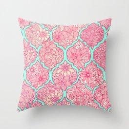 Moroccan Floral Lattice Arrangement in Pinks Throw Pillow