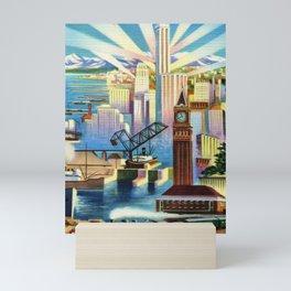 Pacific Northwest Seattle Washington Art Deco Advertising Portrait Mini Art Print