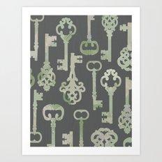 Skeleton Key Pattern in Gray Art Print