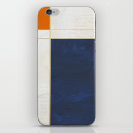 Orange, Blue And White With Golden Lines Abstract Painting iPhone Skin