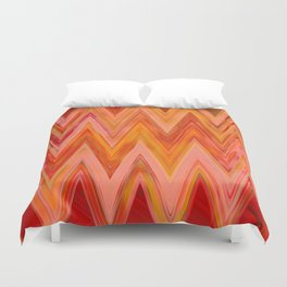 Coral geometric tribal aztec chevron zig zag stripes ikat pattern andes zigzag hipster print Duvet Cover