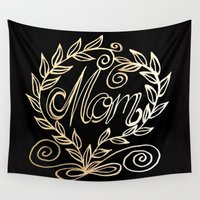 mom Wall Tapestries featuring Mom by ArtLovePassion
