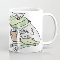 nurse Mugs featuring Nurse Frogly by Sharayah P