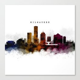 Milwaukee Watercolor Skyline Canvas Print