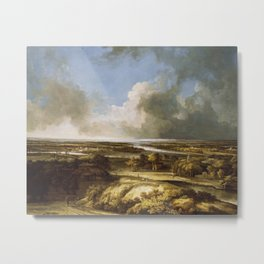 Panorama Plain Fields Vintage Painting Metal Print