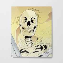 Skeleton on Fire Metal Print
