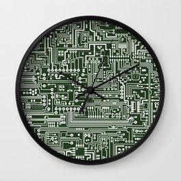 Circuit Board // Green & White Wall Clock