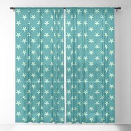 Magic Mint Green on Teal Green Stars Sheer Curtain