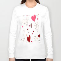 burgundy Long Sleeve T-shirts featuring Flying Hearts pink burgundy by NatalieCatLee