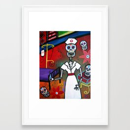 Mexican Day of the Dead Nurse Painting  Framed Art Print