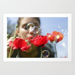 Red poppies fun bubbles and beautiful Russian outdoor girl Art Print