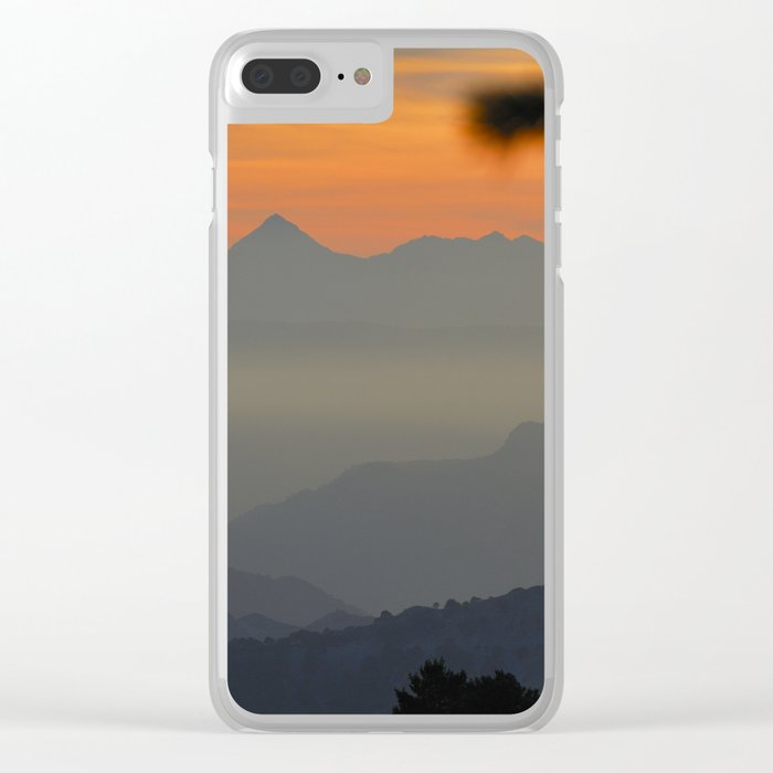 """Sunset at the mountains II"" Clear iPhone Case"