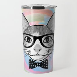 Black White Cat Hipster and the Watercolor Rainbow Circle Travel Mug