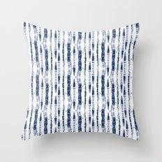 Shibori Stripes 2 Indigo Blue Throw Pillow