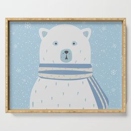 Polar White Bear with Scarf Serving Tray