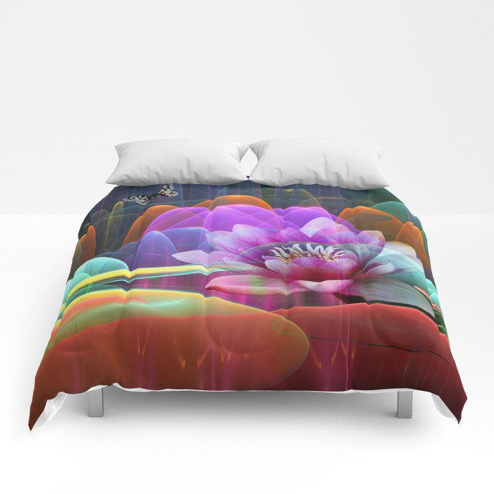 Lotus flower in a magical pool Comforters