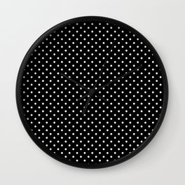 Mini Licorice Black with White Polka Dots Wall Clock