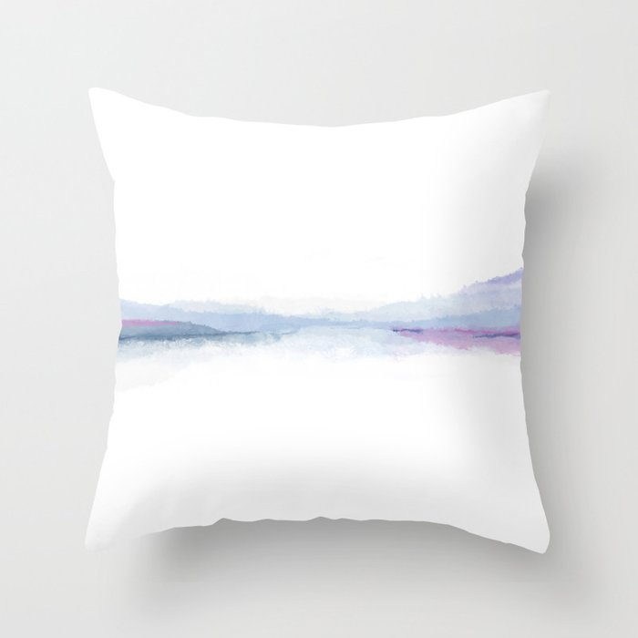 Ombre Minimalist Watercolor — Blue Throw Pillow