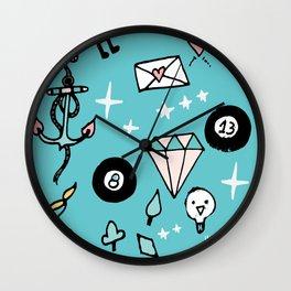 Rockabilly Lucky 13 Teal Wall Clock