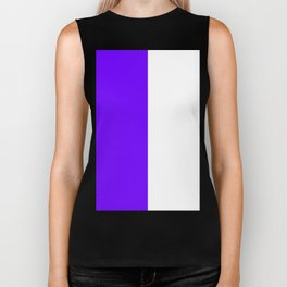 White and Indigo Violet Vertical Halves Biker Tank