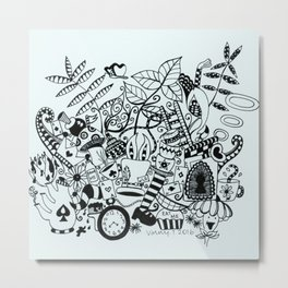 Wonderland Doodle Metal Print