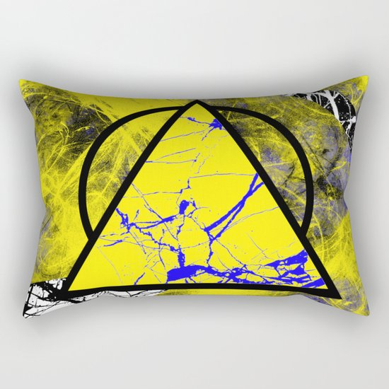 Night And Day - Blue And Yellow, Black And White, Abstract, Geometric, Marble Artwork Rectangular Pillow