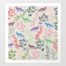 Watercolor Floral & Fox III Art Print