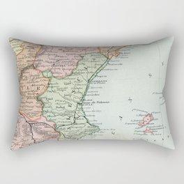 Vintage Map of Spain and Portugal Rectangular Pillow