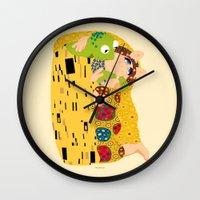 klimt Wall Clocks featuring Klimt muppets by tuditees