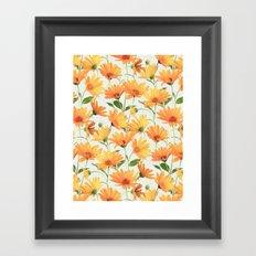 Painted Radiant Orange Daisies on off-white Framed Art Print