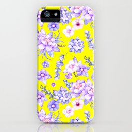 Modern elegant yellow lavender lilac pink watercolor floral iPhone Case