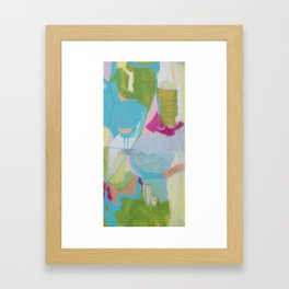 """""""first impressions"""" abstract painting in fresh colors pink, blue and yellow by Framed Art Print"""