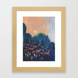 Night of the Foxes Framed Art Print