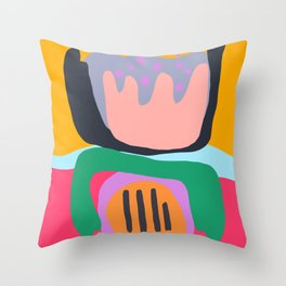Shapes and Layers no.26 - Modern Abstract Flowers Throw Pillow