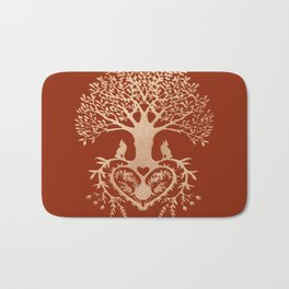 Rose Gold foil Tree of Life with Heart Roots Bath Mat