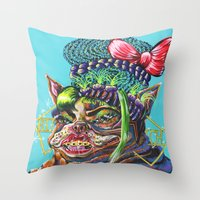 bitch Throw Pillows featuring Bitch. by Eliza Brown Art