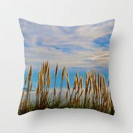 Fort Bragg's Ocean Cattails Throw Pillow