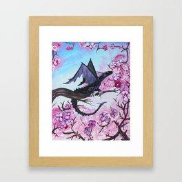 Baby Black Dragon in Cherry Tree Framed Art Print