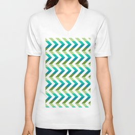 Chevron Picnic Time - Geometric pattern with blue and green Unisex V-Neck