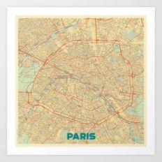 Paris Map Retro Art Print